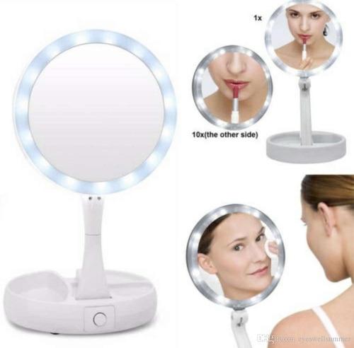 Espejo De Maquillaje Led Tocador Luz Doble Cara Aumento