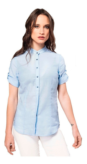 Camisa Celeste De Voile De Algodón Giacca