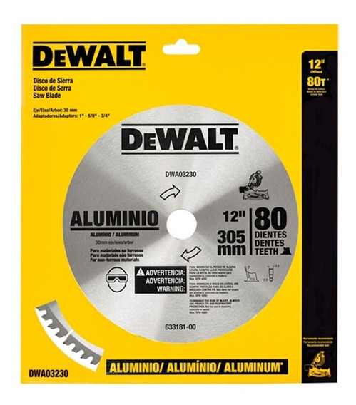 Disco Sierra 12 80 Dientes Aluminio Dewalt Dwa03230