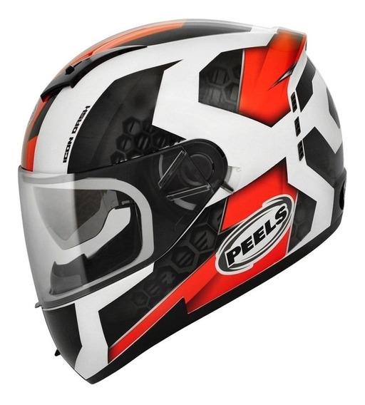 Capacete para moto integral Peels Icon Dash branco, vermelho tamanho 58