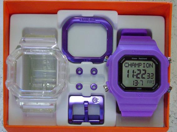 Relógio Champion Yot Original Cp40180x Nf Transparente Roxo