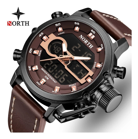 Relógio North Militar Couro 6009