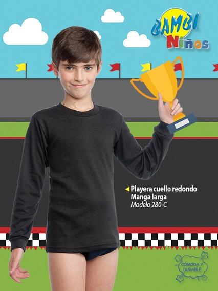 Playera Cuello Redondo Manga Larga Niño Color 280-c