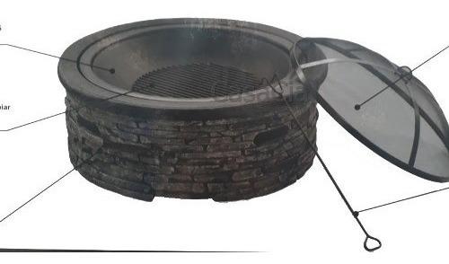 Braseiro Lareira De Chão Aço Tampo Pedra Fundida