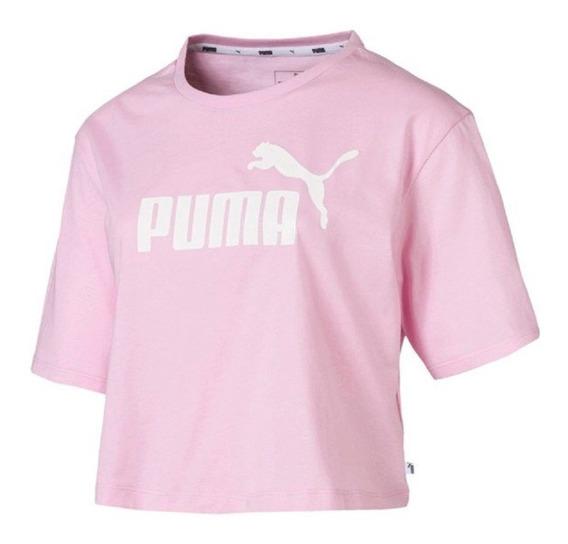 Puma Remera M/c Lifestyle Mujer Ess Cropped Logo Rosa