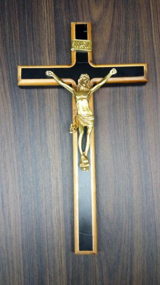 Crucifixo Madeira Preto Com Borda
