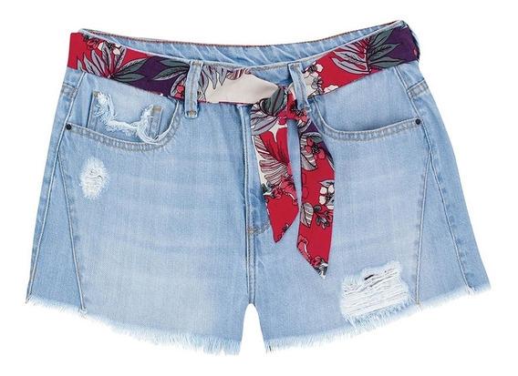Shorts Jeans Feminino Destroyed Acompanha Faixa Hering