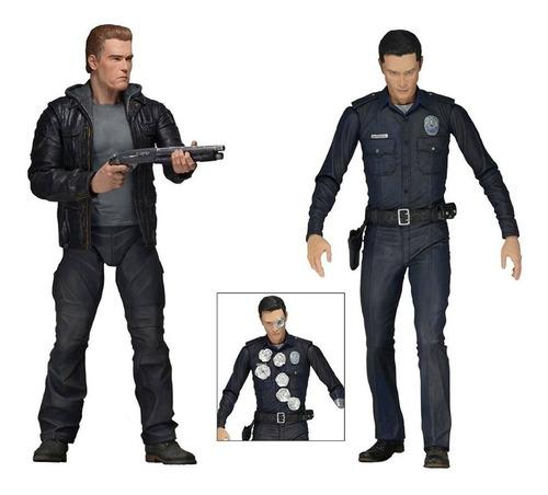 Imagem 1 de 7 de Neca Terminator Genisys T-1000 Police Disguise E T-800 Guard