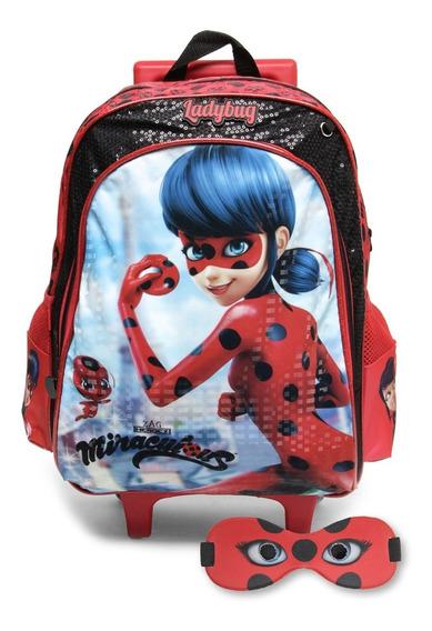 Mochila Infantil Com Rodinhas Miraculous Ladybug C/ Mascara