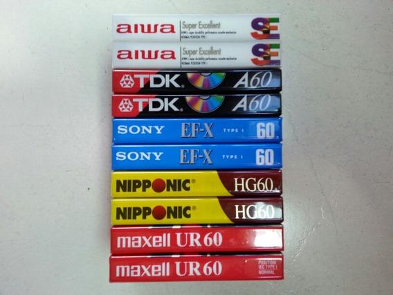 Lote 10 Fitas Cassete Aiwa Tdk Maxell Sony Nipponic Lacradas