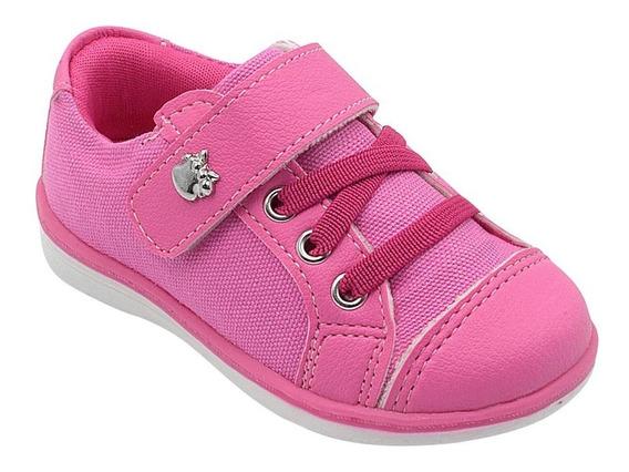 Tênis Infantil Feminino Menina Pink Com Velcro Pé Com Pé