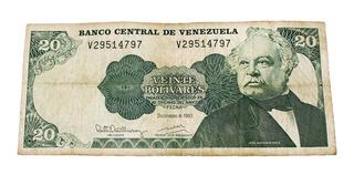 Billete De 20 Bolívares 8 Diciembre 1992 Serial V29514797