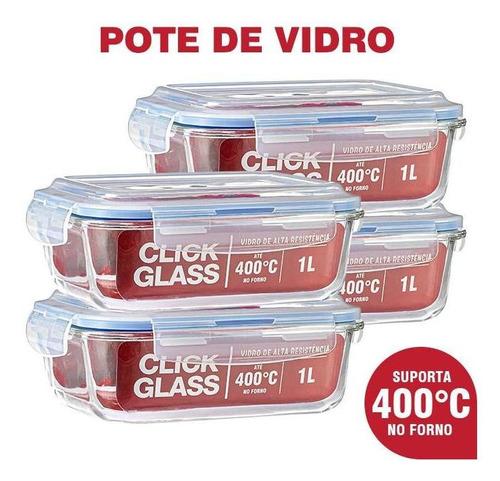 Imagem 1 de 4 de Kit Com 4 Potes De Vidro Click Glass Premium 100% Herméticos