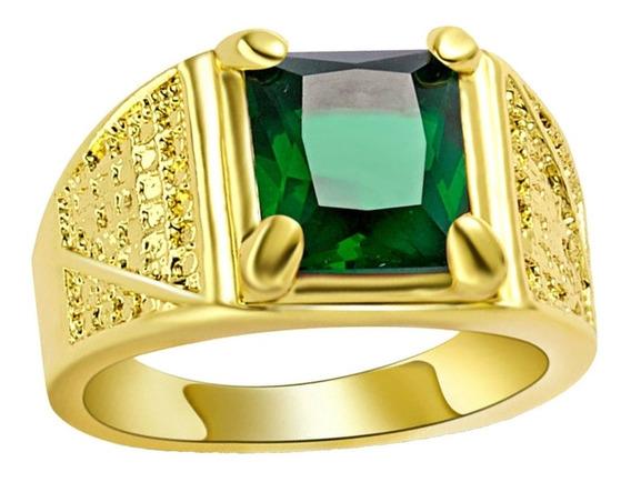 Anel 16 Anel Masculino Com Cristal Esmeralda Verde 887 P