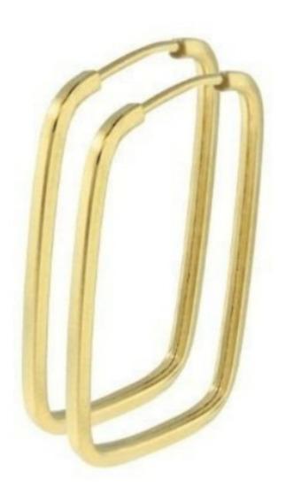 Brinco De Argola Quadrada 2.7cm Em Ouro 18k 750