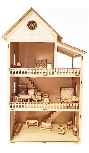 Casa Casinha Boneca+35 Miniaturas + Nome  53cm Abre E Fecha