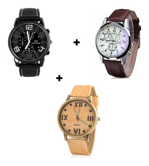 Kit Com 3 Relógios Masculinos Preço De Revenda Barato Oferta