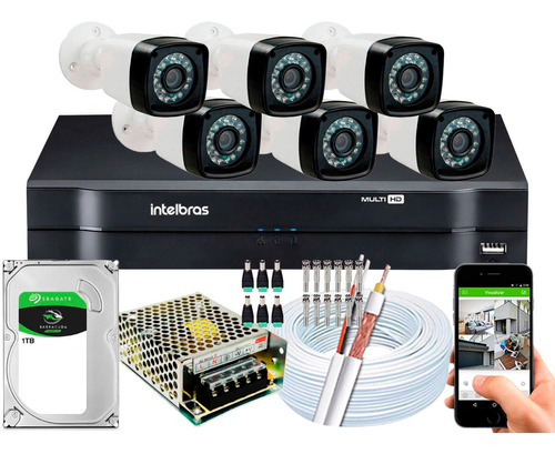 Kit Full Hd 6 Cameras Segurança Intelbras 1080p 2mp Dvr 8 Ch