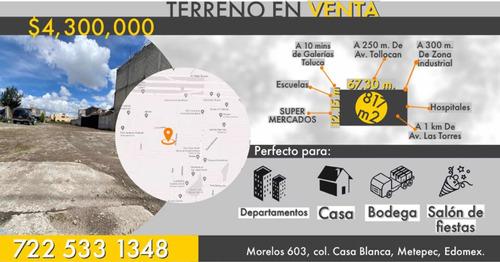 Imagen 1 de 8 de Terreno De 817 M2 En Casa Blanca Metepec