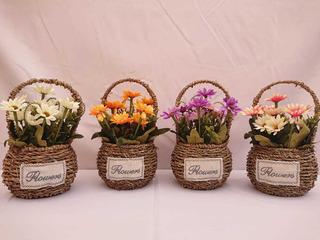 Flor Artificial Con Maceta De Mimbre Centro De Mesa