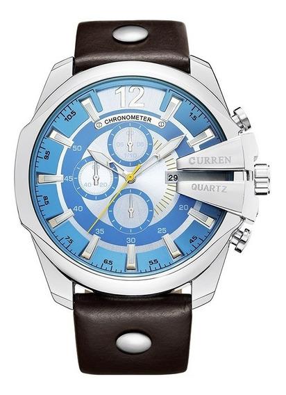 Kit Relógio Masc. Curren Azul Sport + Fone De Ouvido Shini