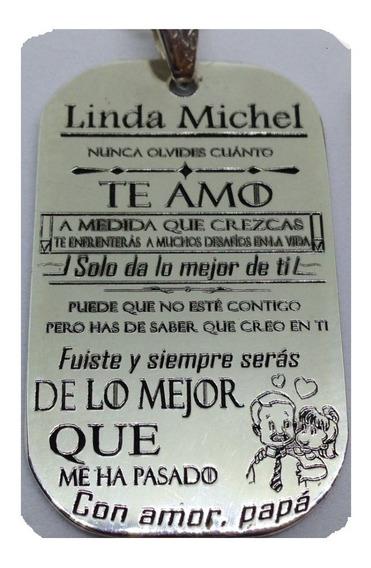 Placa Hija Mía Ingles, Con Cadena, Grabada, Plata.950