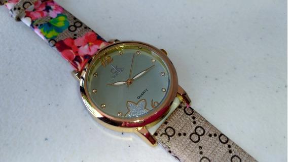 Relógio Feminino Floral Estampado Com Caixinha