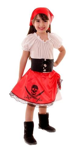 Acetato Blanco Disfraces para para Niñas Pirata Nuevo en