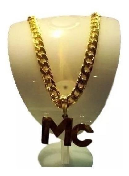 Corrente Folheada A Ouro - Pingente Mc - Funk Ostentação