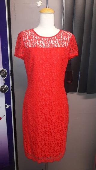 Vestido De Coctel C/encaje Color Naranja Marca Rimini Nuevo