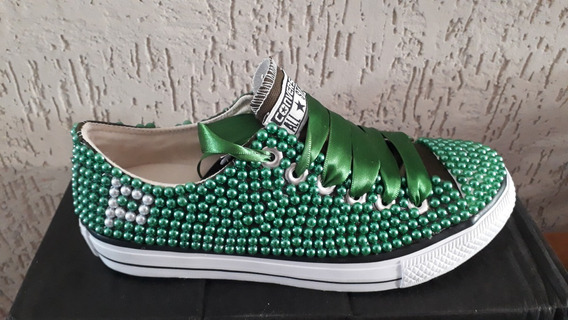 Tênis Personalizado Com Pérolas Verde