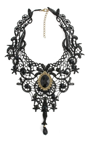 Collar Retro Gotico Vintage Joyeria Bisuteria Anillo Dama