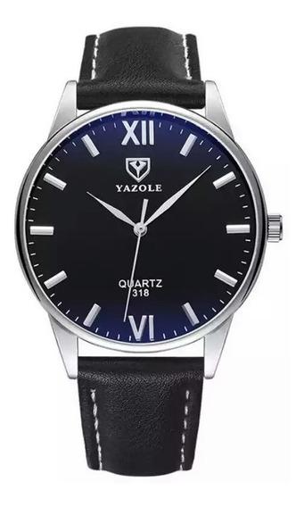 Reloj Hombre Correa De Cuero Bisel Acero Elegante Yazole 318