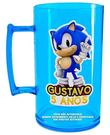 20 Caneca Chopp Sonic Personalizada Copo Lembrancinha Festa