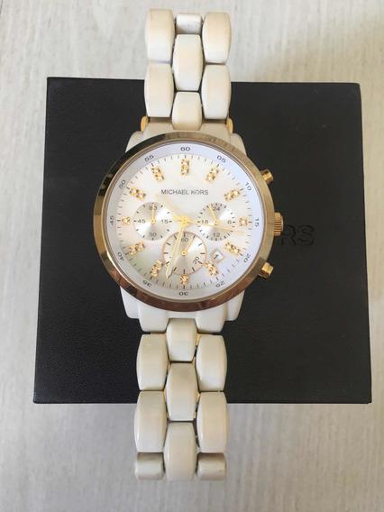 Relógio Michaelkors,pulseiramadripérola Branca,um Ano De Uso