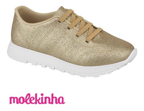 Tênis Molekinha Infantil Menina Mini Shine Dourado Glitter