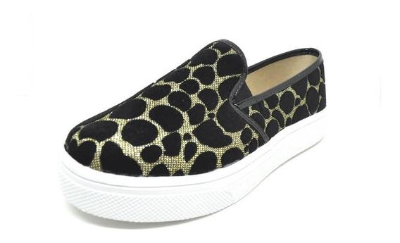 Sapatos Femininos Slip On Slipper Confort Nobuck Onça