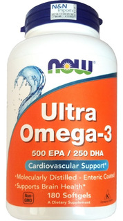 Ultra Omega 3 Now 180 Softgel Epa500 Dha250 Qualidade Gmp