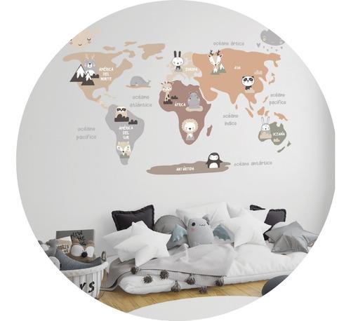 Imagen 1 de 3 de Vinilo Decorativo Infantil Mapa Animalitos Nordico 90x120cm