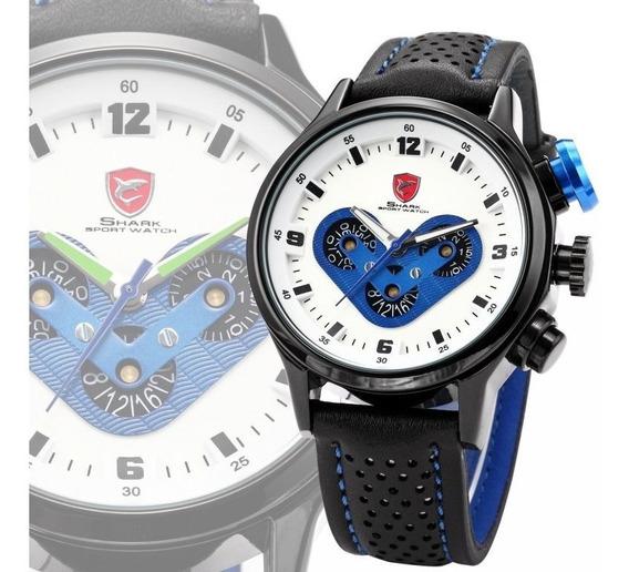Relógio Shark Masculino Couro Sport Sh089 - Oferta Especial