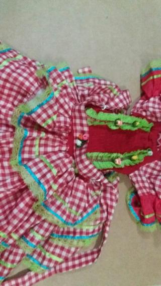 Vestido Festa Junina Tamanho 8 Com Chapéu De Palha