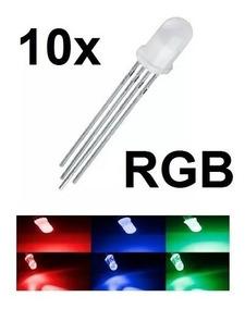 Kit Com 10 Led Rgb 5mm Difuso Catodo