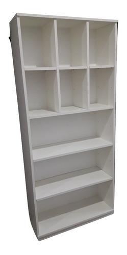 Biblioteca Organizador 6 Cubos Y 3 Estantes Melamina Blanca
