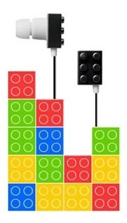 Fone De Ouvido Sundries Playbrick Lego Mod. Branco Com Preto