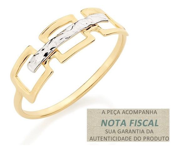 Anel Liso Quadrados Vazados Folheado Rhodium Rommanel 510002
