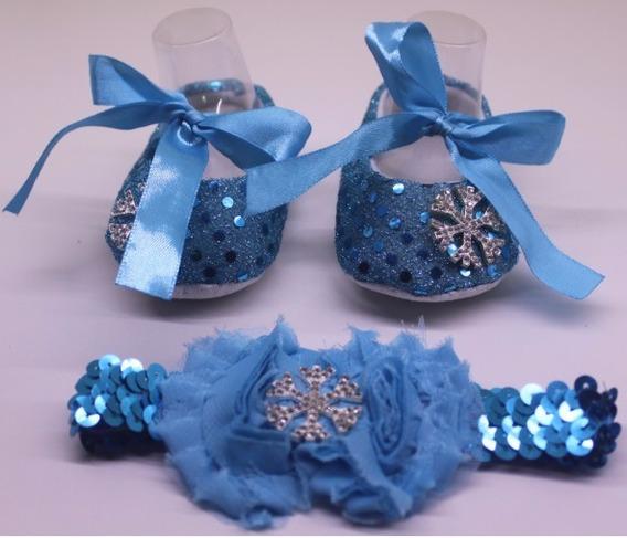 Sapatinho De Bebê Brilhante Com Tiara, Cor Azul Com Aplique