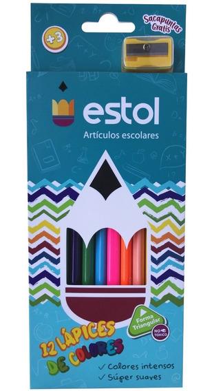 Caja 12 Colores Triangular Con Sacapuntas Estol 12 Cajas