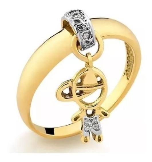 Anel Pingente De Ouro 18k/750 Menino/filho E Diamantes P03
