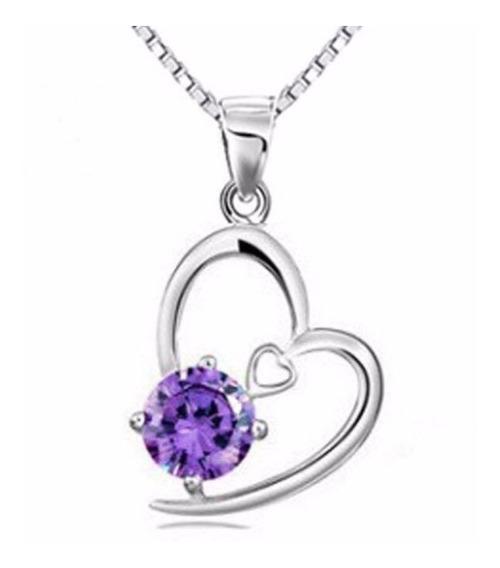 Collar Y Dije Plata .925 Regalo Dama Corazón Zirconia Mujer