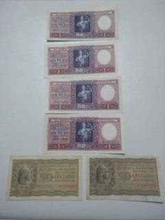 Lote De 6 Billetes Moneda Nacional De 0,50 Y 1 Peso